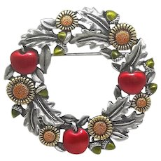 Harvest Wreath - Apples Sunflowers - JJ pin - pewter