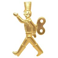 Wind Up Tin Soldier pin - JJ Holiday brooch