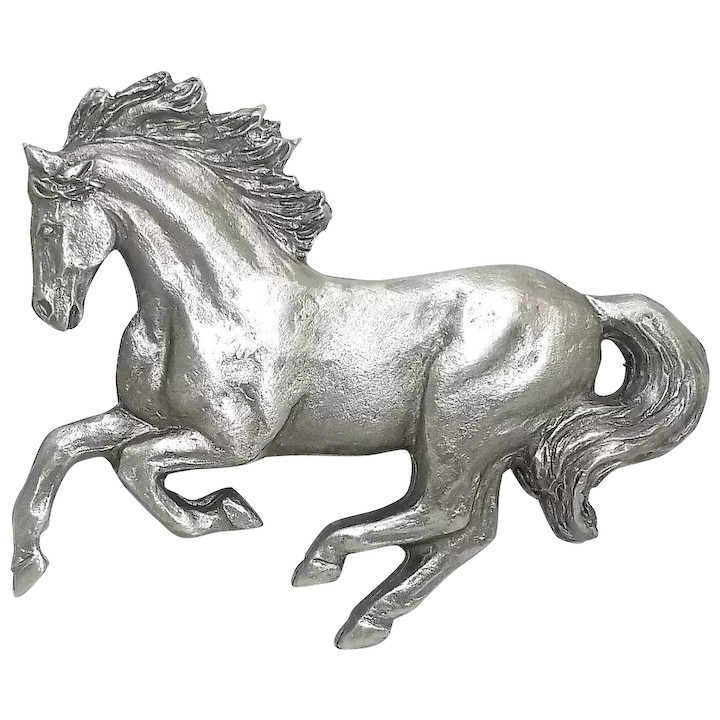 Galloping Horses - Spoontiques pin - vintage pewter brooch