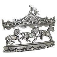 Carousel Horses - JJ pin - vintage pewter brooch