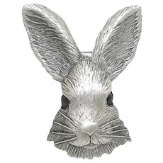 Bunny Rabbit Head - vintage pewter JJ pin J.J. Easter brooch
