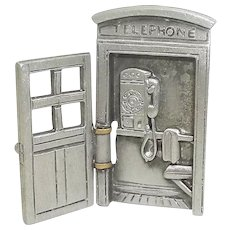 Rotary Dial Telephone Phone Booth - JJ pin brooch - petite size