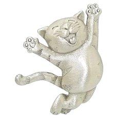 Happy Cat - JJ pin - vintage Jonette