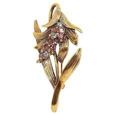 Trumpet Flower - JJ pin - antiqued goldtone