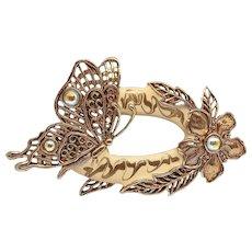 Butterfly with Flowers - Heavy Enamel - JJ pin - vintage Jonette brooch