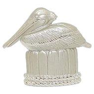 Pelican - JJ pin Brooch - silvertone