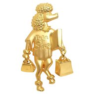 Poodle - Born To Shop - - JJ pin - vintage goldtone brooch