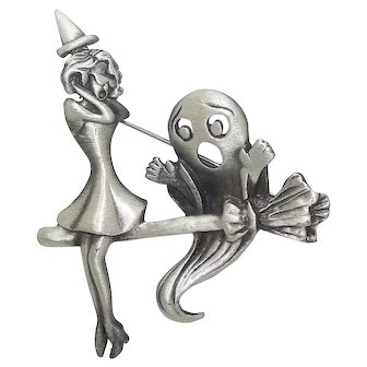 Witch and Ghost on Broomstick - AJC pin Halloween brooch - pewter