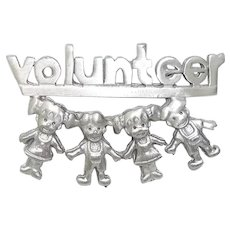 Volunteer - vintage pewter pin brooch