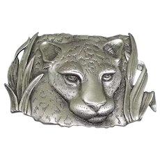 Leopard Cheetah - JJ pin - vintage pewter brooch
