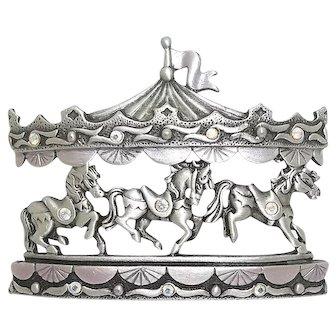Carousel Horses - JJ pin - vintage pewter with enamel