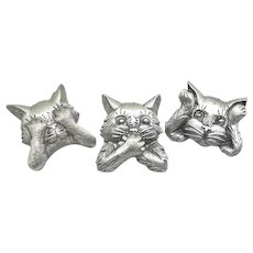See Hear Speak No Evil - 3 JJ Cat  pins