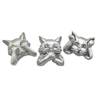 See Hear Speak No Evil - 3 JJ Cat  pins