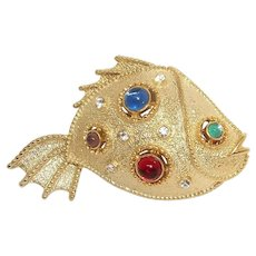 Fish - goldtone - JJ vintage brooch pin