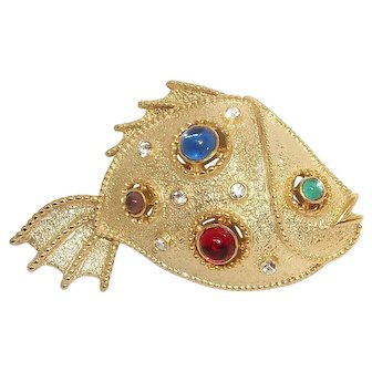 Fish - goldtone - JJ vintage brooch pin