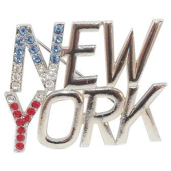 New York - rhinestone - JJ vintage pin J.J. Jonette brooch