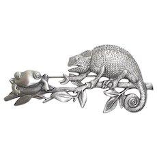 Lizard and Frog - vintage pewter JJ pin brooch