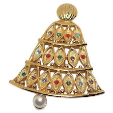 Christmas Bell - goldtone and rhinestone - older JJ pin brooch