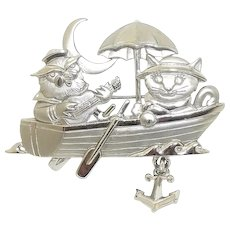 Owl and Pussy Cat - Row Boat - JJ pin - silvertone