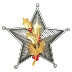 Christmas Star - JJ Christmas pin - Holiday Jewelry - pewter