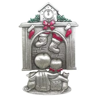 Christmas Fireplace Stockings Children - JJ Xmas pin - pewter brooch
