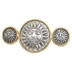 Sun - JJ - pewter pin brooch