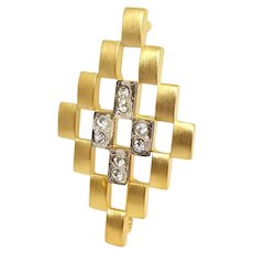 Goldtone Rhinestone JJ brooch pin - Jonette Jewelry
