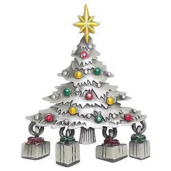 Christmas Tree w/ Presents - JJ pin - vintage Jonette brooch - pewter