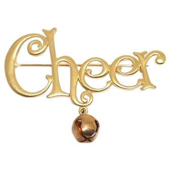 Cheer - Holiday pin - JJ Xmas brooch - goldtone