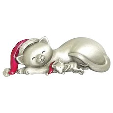 Cat and Mouse - JJ Christmas pin - pewter