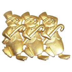 Dancing Penguins - JJ Christmas pin Jonette brooch