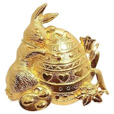 Easter Bunny Rabbit with Egg - JJ pin - goldtone Holiday brooch