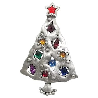 Christmas Tree - pewter brooch - JJ Jonette Holiday pin