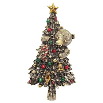 Christmas Tree and Bear - JJ vintage pin