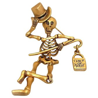 articulated Skeleton pin  -  Halloween brooch - Danecraft