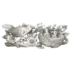 Birds in Nest - JJ pin - vintage pewter brooch