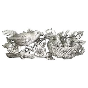 Birds in Nest - JJ pin - vintage pewter brooch