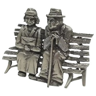 Old Couple - Forever Companions - JJ pin J.J. brooch