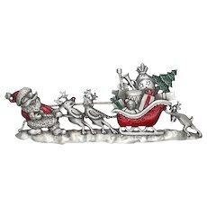 Santa Pulling Sleigh - JJ Christmas pin - vintage Jonette brooch - pewter
