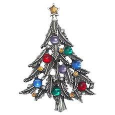 Christmas Tree - pewter brooch - JJ Jonette Holiday pin