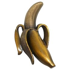 rare Banana - JJ pin - vintage antiqued goldtone brooch