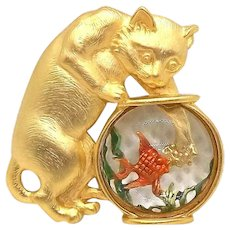 Cat Fishbowl - JJ pin brooch - goldtone with acrylic bowl