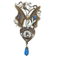 Mermaid Butterfly - Runway Size Brooch - Jonette Jewelry JJ - Statement piece