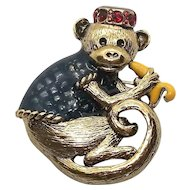 Organ Grinder Monkey with Banana - Danecraft pin brooch