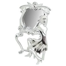 Flapper Lady Mirror Dressing Table - AJC pin brooch