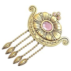 goldtone Abstract dangle brooch - vintage JJ pin