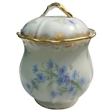 Porcelain Cornflower/Bachelor Button Cookie/Cracker Jar