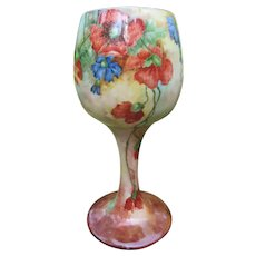 Tall Willets Belleek Hand Painted Floral Chalice