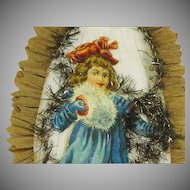 Victorian Die Cut Skater Christmas Girl Decoration