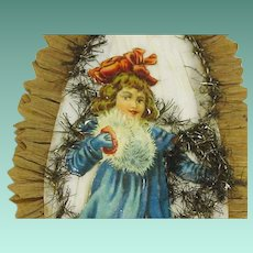Victorian Die Cut Skater Christmas Girl Decoration